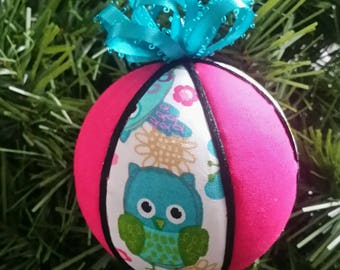 Pink and Turquoise Owl Christmas Ornament