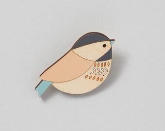 Wooden Bird Brooch - Bird Brooch - Coaltit - Mother's Day Gift