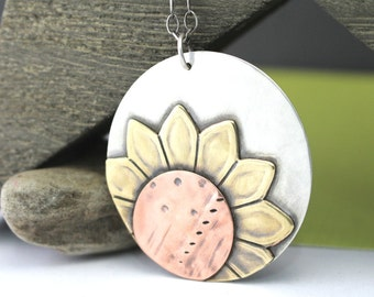 Happy Sunflower Necklace, Fall Sunflower, Sunflower Pendant, Flower Necklace, Sunflower Necklace, Yellow Sunflower, Sterling Silver Necklace