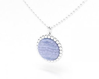 Chalcedony cabochon and silver Cocktail necklace