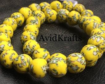 20 Recycled Krobo Glass Beads. Ghana Glass beads. 15.5/17mm diameter. Yellow round beads. AvidKrafts
