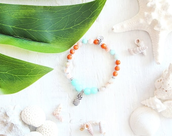 Maui bracelet, elastic wire, beads, turquoise, mint, white marble, orange, pineapple charm, beach style, summer jewel, for women