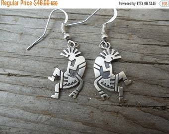 ON SALE Kokopelli earrings handmade in sterling silver 925 by a Navajo silversmith