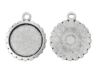 10 pcs. Antique Silver Circle Round Bezel Cabochon Pendant Tags Trays - 16mm Glue Pad Settings - Design A
