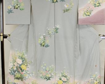 """Brand new Kaga Yuzen Silk Hand Dying  Houmongi. ( with Rakkann """"Norikatsu Nozaki)"""