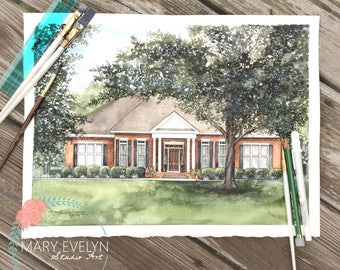 "11"" x 14"" Custom Watercolor House Illustration"