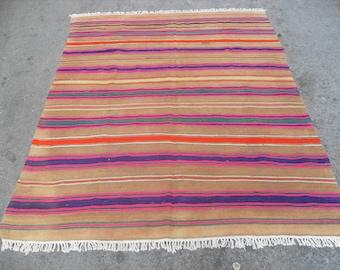 free shipping VINTAGE TURKİSH bigaadiç kilim Anatolian handwoven kilim rug decorative kilim - SİZE : 64'' X 82'' ( 160 cm X 205 cm)