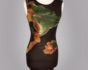 Boat Neck Dress, Gather Side Dress, Print Floral Dress, Fitted Dress, Sleeve less dress, Cone Dress, Short Dress