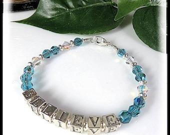 Indonite Swarovski Crystal Bracelet, 2071,Sterling Silver BELIEVE Message, Message Bracelet, Turquoise Jewelry, Affirmation Jewelry, BELIEVE