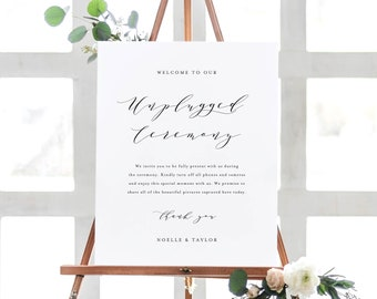 Editable Template - Instant Download Soft Calligraphy Unplugged Ceremony Sign in 2 Sizes