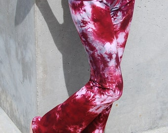 Tall Cosmic Burgundy Tie Dye Yoga Pants Including Extra Long and Plus Sizes by Splash Dye Activewear