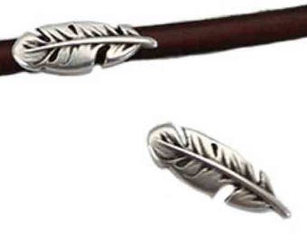 10 passes leather feather leather 5 mm silver-plated