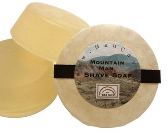 SHAVE Soap - MOUNTAIN MAN - Shaving Mug Refills Made with Bentonite Clay and Moisturizing Shea Butter by Man Cave Soapworks