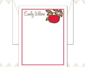 Apple Stationery, Apple Note Cards, Teacher Stationery, Custom Stationery, Red apple stationery, Teacher Note Cards, red apple and branch