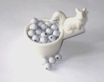 50 wooden beads for 10 mm light blue pacifier