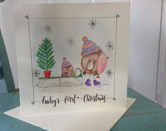 Baby's first Christmas card, hand drawn, original watercolour