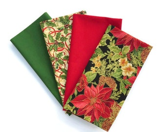Christmas Cloth Napkins, Poinsettia Cloth Napkins, Red Christmas Napkins, Green Christmas Napkins, Christmas Poinsettia Table Linens