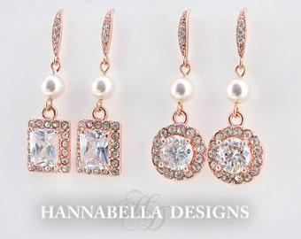 Sena - Rose Gold Wedding Earrings, Cubic Zirconia Halo Earrings, Bridal CZ Earrings, Bridemaids Dangle Earrings, Pearl Drop Earrings