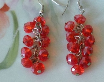 Vintage ORANGE Faceted Swarovski Crystal Round Beaded Earrings Silver Tone Metal Pierced Dangle Earrings Handcrafted