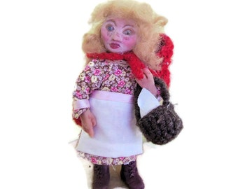 Little Red Riding Hood Art doll - Polymer clay doll - handmade doll - fairytale doll