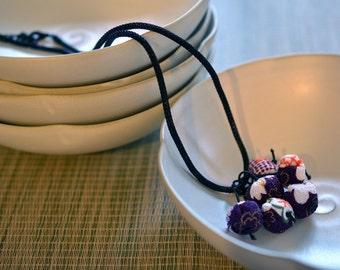 mini chirimen hanamaru necklace purple/orange