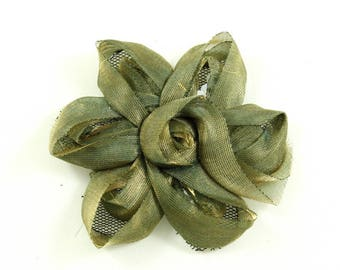 Flower fabric and sequin 7cm - khaki Green