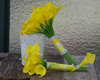 Yellow Calla Real Touch Lily Bridal Bouquet with brooch