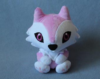 MADE TO ORDER Pink Husky/Wolf Plush Stuffed Animal