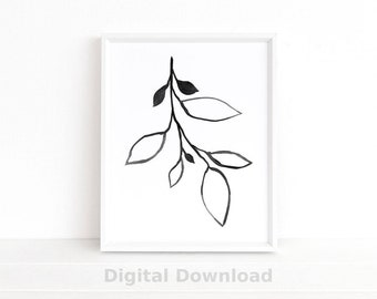 Black and White Wall Art, Botanical Print, Plant Wall Art Print, Ink Line Drawing, Instant Download, Printable Art, Minimalist Poster
