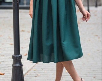 Dark green midi skirt / Spring Autumn Summer skirt for women / casual skirt / skirt Cocktail Party / office business woman