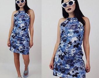 90's Floral Sleeveless Sundress Mini Dress Small - Vintage Blue White All Over Flower Print Clueless Womens Spring Summer Mini Tank Dress