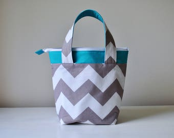 Insulated Lunch Bag - Turquoise with Gray and White Chevron-  Thermal Bag - Zippered Bag