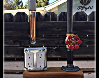 """Industrial Table Lamp """"Bobby"""", outlet table lamp, steampunk lamp, reclaimed wood light"""