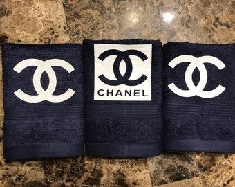 Beitiful Dark Blue Designer Inspired Washcloths Set of 3-Cute Gift