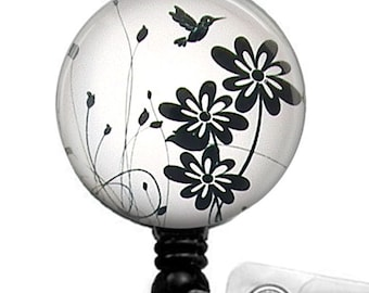 Retractable ID Badge Reel Black Bird and Flowers on White Background - Name ID Badge - 57