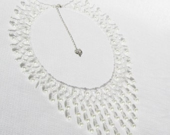 Pearl Bridal Necklace, Wedding White Collar, Bridal Pearl Bib Style Necklace