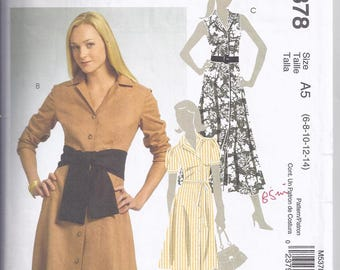 McCalls Pattern M5378  from 2007 , Misses Dress in two lengths with belt or sash. Bust 30 1/2-36