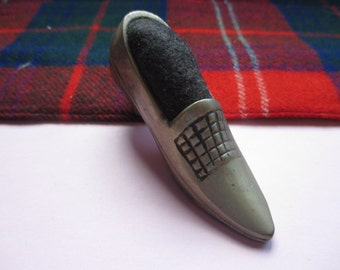 Silvertone Shoe Pin Cushion