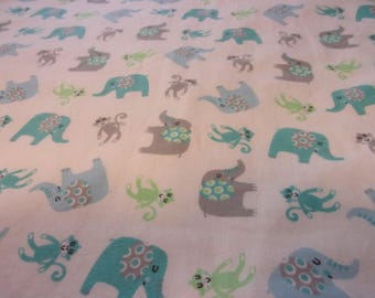 "Flannel Boy Baby Blanket Elephants and Monkeys 31"" x 38"""