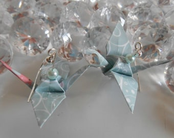 Origami cranes sky blue pearls earrings