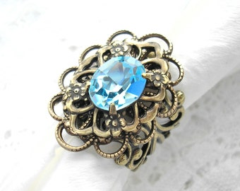 Light Sapphire Ring- Swarovski Crystal in Antiqued Brass- Morning Glory Designs