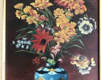 Antique bouquet oil painting on on canvas 1930's french original
