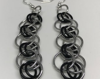 Sale 25% off Black and Silver Helm Chain Chainmaille Dangle Earrings