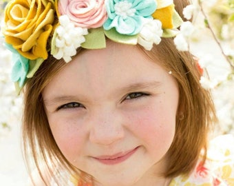 Spring beauty felt flower crown headband