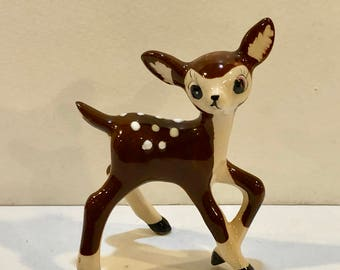Vintage Deer Figurine, Porcelain Fawn, Big Eye Deer, Big Ears, Animal Figurine, Bambi Figurine, Spotted Deer, Bone China, Japan, Circa 1950s