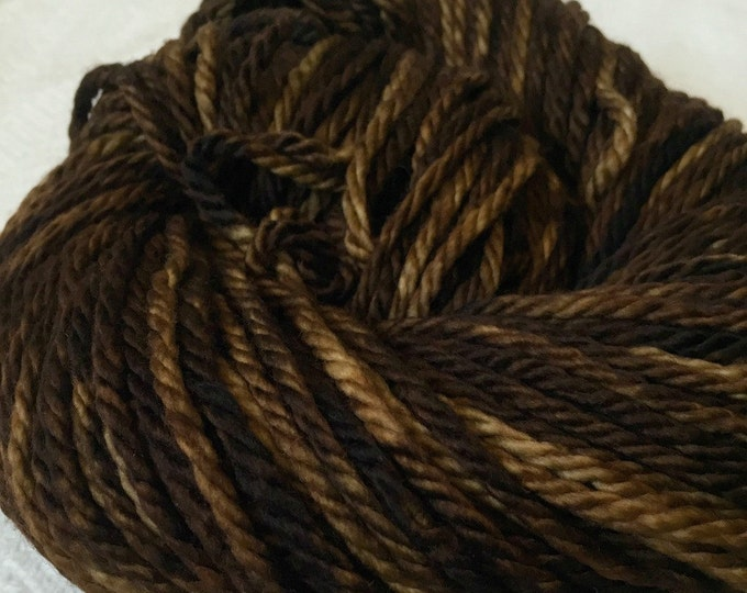 Hand Dyed Bulky Yarn Walk the Plank rich brown yarn 100% superwash merino wool 106 yards pirate ship brown bulky weight yarn chunky yarn swm