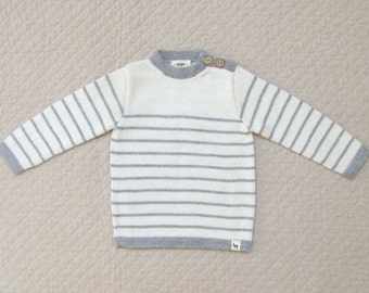 Nautical striped alpaca Breton sweater / Childrens  cardigan - Eco friendly gray and white pullover for kids and babies