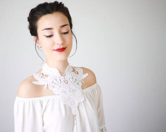 Lace Necklace Statement Necklace Bib Necklace Pearl Necklace Bridal Necklace Wedding Necklace Girlfriend Gift For Her Boho/ LERINA