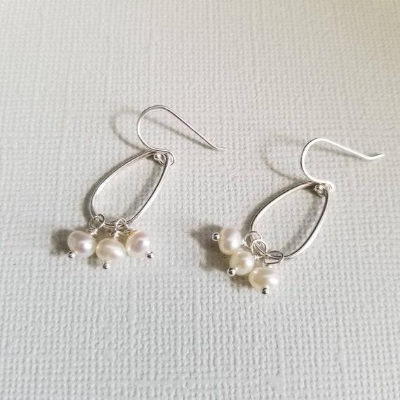 White Pearl Sterling Silver Drop Earrings, Oval Earrings, Lightweight Earrings, Delicate Wedding Jewelry, Pretty Earrings, made in Canada