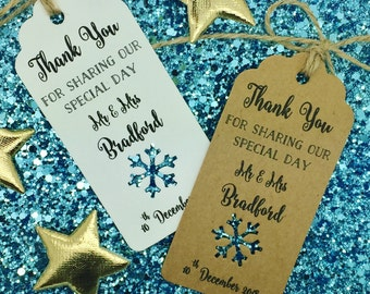 """Winter Wedding Favour Gift Tags """"Thank You"""", Personalised, Snowflake"""